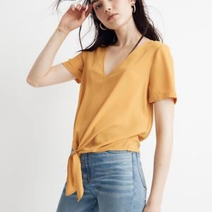 Madewell Novel tie front top mustard yellow Small